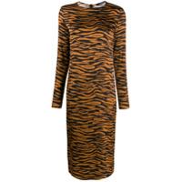 Andamane Vestido Com Estampa Animal Print - Marrom