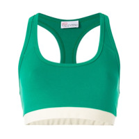 Red Valentino Blusa Cropped Color Block - Green