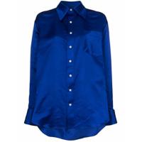 Matthew Adams Dolan Camisa De Seda Assimétrica - Azul