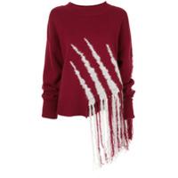 Dawei Suéter De Tricô Com Franjas - Vermelho