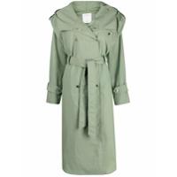 Sandro Paris Trench Coat Arie Com Capuz - Verde