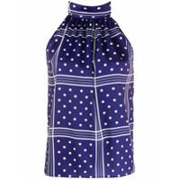 Jejia Blusa frente única com xadrez e poá - Azul