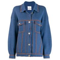 Barrie Jaqueta De Tricô Com Costura Contrastante - Azul