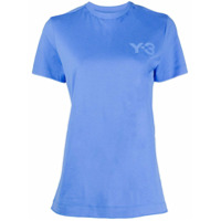 Y-3 Camiseta Decote Careca Com Logo - Azul