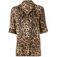 Dolce & Gabbana Camisa Animal Print De Seda - Marrom