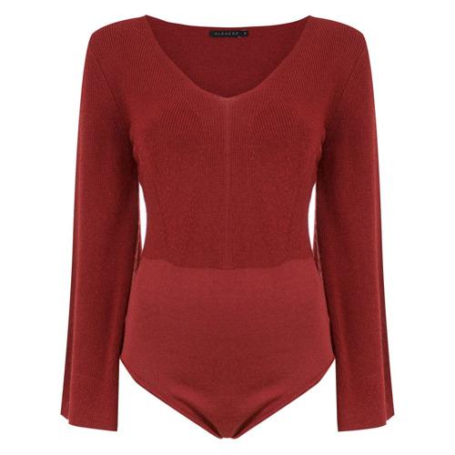 Imagem de Alcaçuz Body 'Gilvan' de tricô - Vermelho