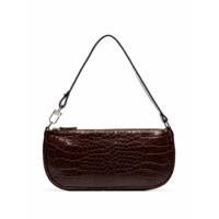 By Far Croc-Embossed Shoulder Bag - Marrom