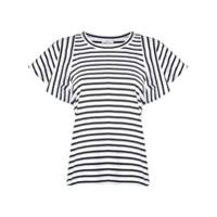 A.l.c. Striped Ruffle Sleeve Top - Branco