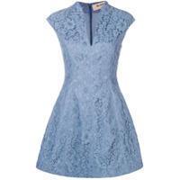 Blanca Vestido floral evasê - Azul