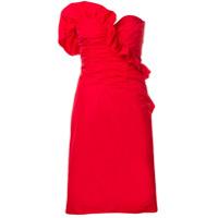 Alexa Chung Vestido Tomara Que Caia Com Franzido - Vermelho