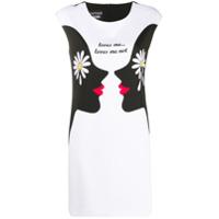 Boutique Moschino Vestido Loves Me Loves Me Not De Crepe - Branco