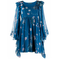 Alberta Ferretti Vestido Fantasia Com Estampa Floral - Azul