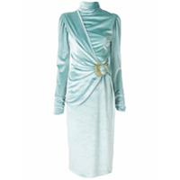 Framed Vestido Midi Velour Melfed - Azul