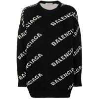 Balenciaga Suéter De Tricô Com Logo - Preto