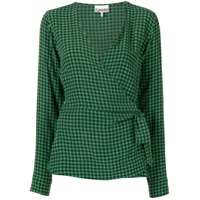 Ganni Blusa Xadrez Com Transpasse - Verde