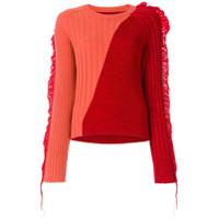 Maison Margiela Suéter Bicolor Com Acabamento Canelado - Vermelho