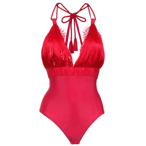Imagem de À La Garçonne Body franjas com renda - Vermelho