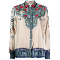 Versace Collection Camisa De Seda Com Estampa Floral - Neutro