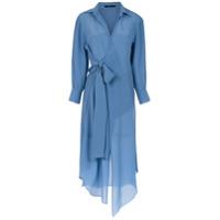 Magrella Vestido Camisa Mangas Longas - Azul