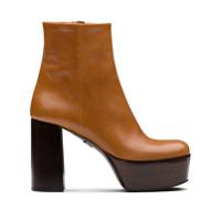 Prada Ankle Boot Com Plataforma - Marrom