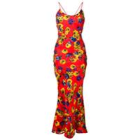 Attico Vestido Longo Com Estampa Floral - Vermelho