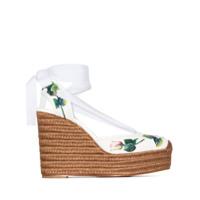Dolce & Gabbana Espadrille De Couro Com Salto 130Mm E Estampa De Rosa - Branco
