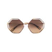 Chloé Eyewear Óculos De Sol Sol Geométrico - Marrom