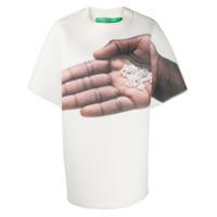 Benetton Camiseta Oversized Com Estampa De Mão - Branco