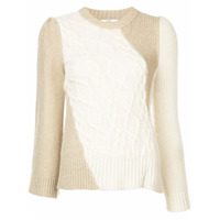 Co Cable Knit Panel Sweater - Neutro