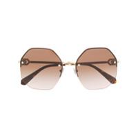 Bulgari Óculos De Sol Redondo Com Cristais - Dourado