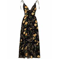 Reformation Vestido Midi Jaden Com Estampa Floral - Preto