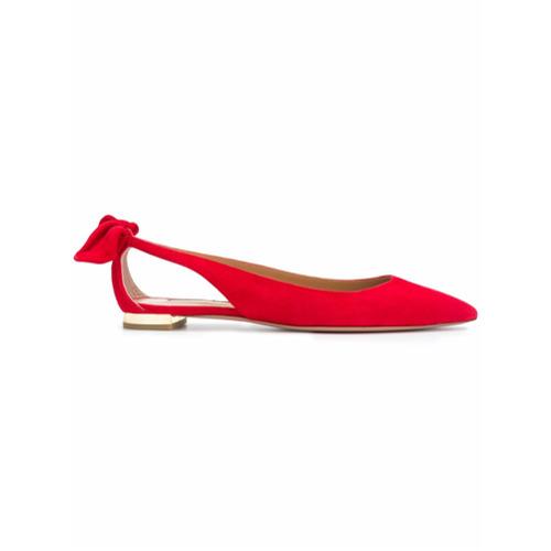Imagem de Aquazzura Sapatilha bico fino de couro e camurça - Cat Red