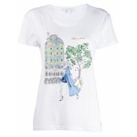 Patrizia Pepe Camiseta Com Estamoa Barcelona - Branco
