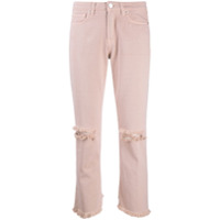 Two Denim Calça Jeans Galia Cropped Destroyed - Rosa