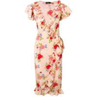 De La Vali Vestido Com Estampa Floral E Babados - Rosa
