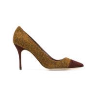 Manolo Blahnik Scarpin Color Block De Tweed - Marrom