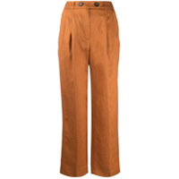 12 Storeez Calça Pantalona De Linho Com Pregas - Laranja