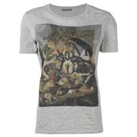 Alexander Mcqueen Camiseta Estampada Com Decote Arredondado - Cinza