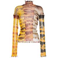 Asai Sheer Tie-Dye Stretch Top - Marrom