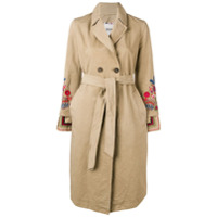 Bazar Deluxe Trench Coat Com Bordado - Neutro