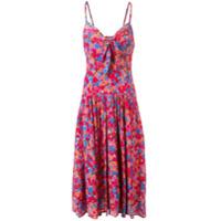 Lhd Vestido Midi Com Estampa Floral - Rosa