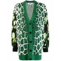 Msgm Cardigan Oversized Com Estampa De Oncinha - Verde