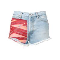 Heron Preston Short Jeans Com Estapa - Azul