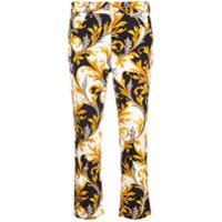Versace Calça Jeans Cropped Com Estampa Acanthus - Branco