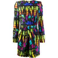 Dsquared2 Vestido Mini De Seda Tie Dye - Preto