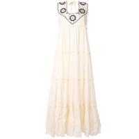 Innika Choo Vestido Longo Com Babados - Branco