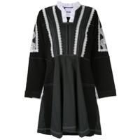 Koché Vestido Com Babado Na Gola - Preto