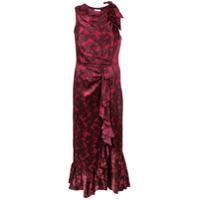 Cinq A Sept Vestido De Seda Com Estampa Floral - Vermelho