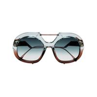 Fendi Eyewear Óculos De Sol 'tropical Shine' - Azul