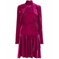 Rotate Vestido De Veludo Com Detalhes Drapeados - Rosa